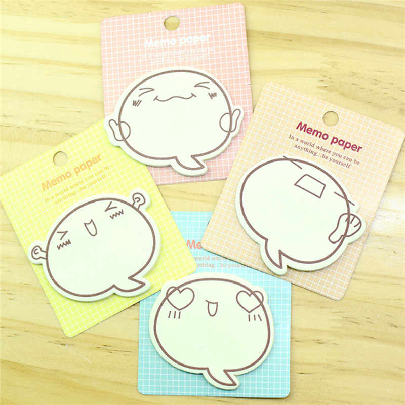 1 PC Kartun Ekspresi Inspirational Self-Adhesive Memo Pad Kreatif Lengket Catatan Sekolah Office Supplies