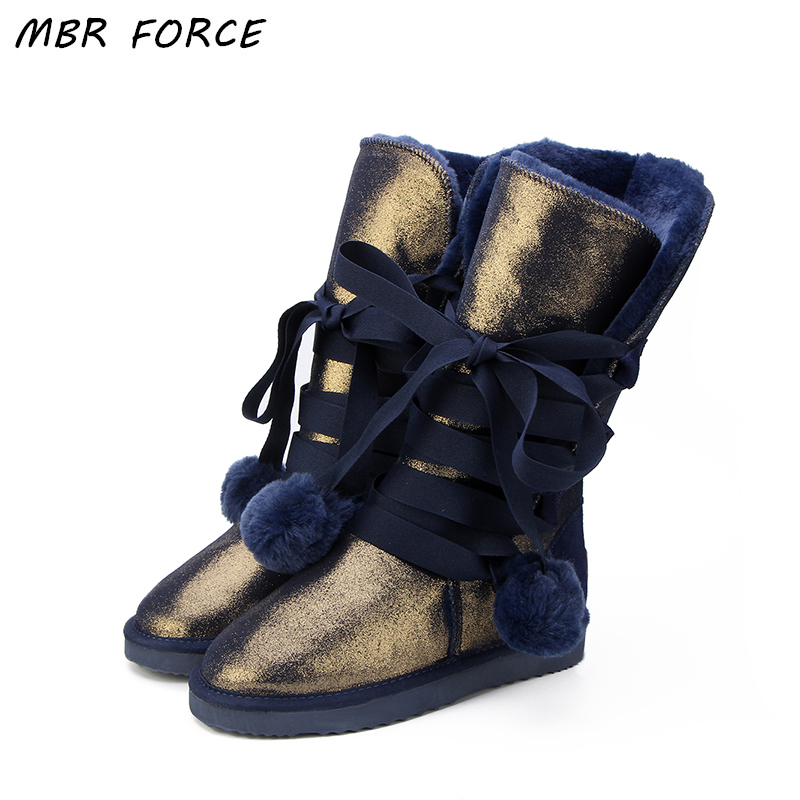 MBR FORCE  Classic Women Snow Boots Leather Winter Shoes Boot bota feminina botas mujer zapatos Women's Waterproof Snow Boots