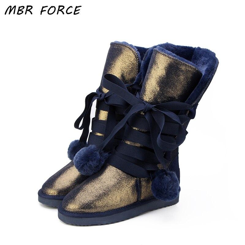 MBR FORCE classique femmes bottes de neige en cuir chaussures d'hiver botte bota feminina botas mujer zapatos femmes bottes de neige imperméables