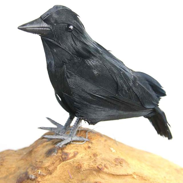 Black Halloween Crow Decoration High-End Simulated Crow Props Halloween Decoration Farm Garden Bird Repellent Ornaments