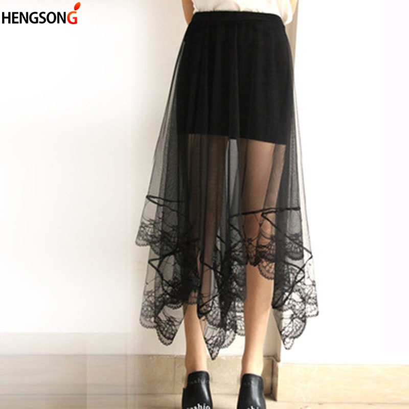 HENGSONG Swallowtail Tulle Skirts Womens Black White Adult Tulle Skirt Elastic High Waist Pleated Midi Skirt 2018 New 722657