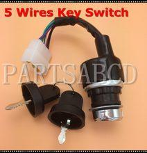 Interruptor de chave de ignição, 5 fios, interruptor de iniciar, 50cc 110cc 125cc 150cc 250cc atv, quad go, kit de peças