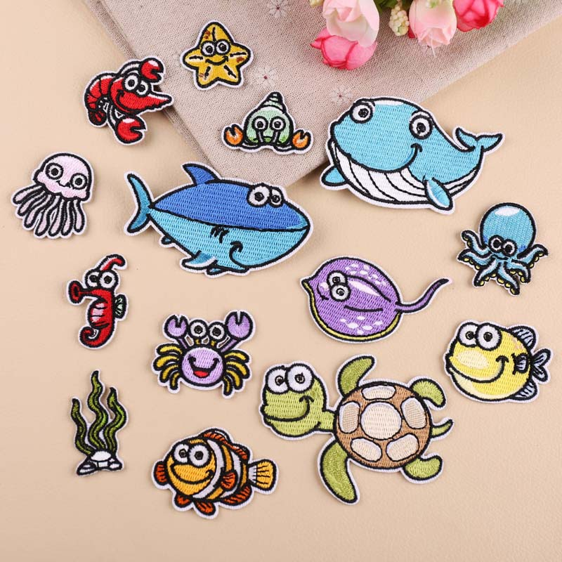 Cartoon Fish Diverse Marine life Crab, shark whale Embroidered Patches for Clothing Iron on Clothes Jeans Appliques Badge animal