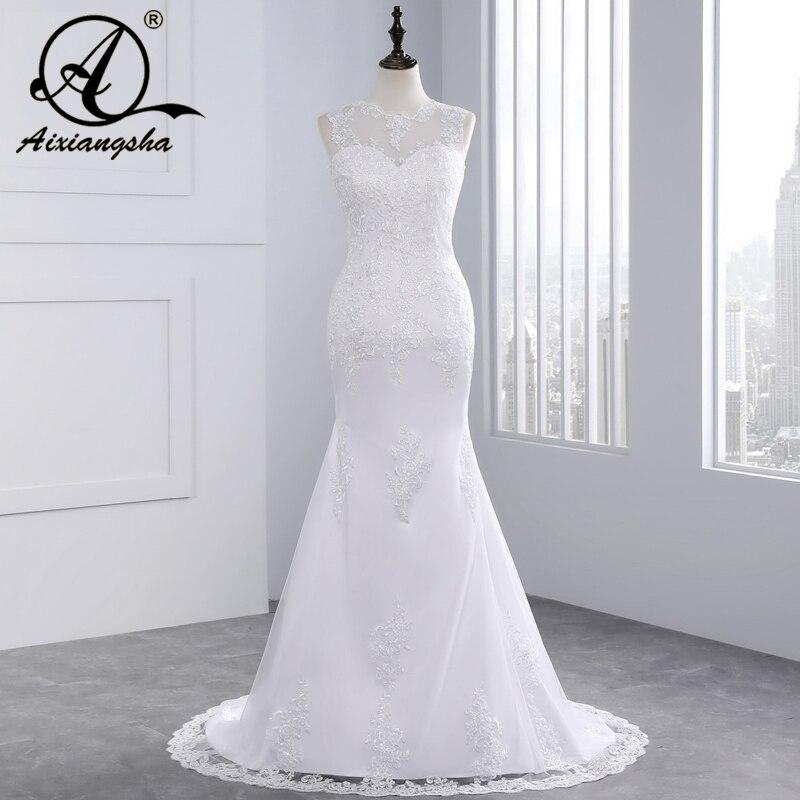 Pas cher Plage Dentelle Sirène robe De mariage 2018 Sexy Tulle Dos Nu Romantique Mariée Robes fait sur mesure grande taille Robes De Mariée