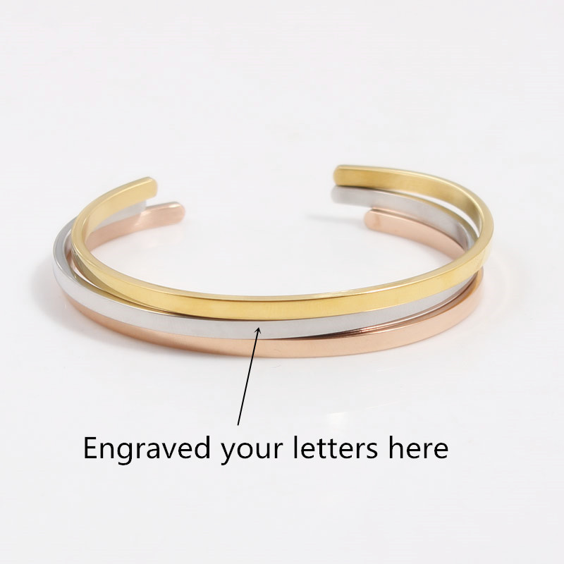 Stainless Steel Customized Engraved Positive Inspirational Quote Hand imprint Cuff Mantra Bracelet Bangle For Women Jewelry