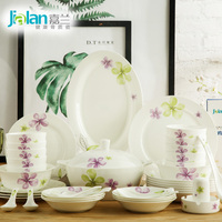 Garland dishes suit 56 pieces of Japanese household fresh garden simple ceramic bone china tableware bowl set