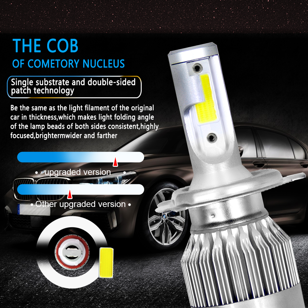 1 Pair C6 Car LED Lights Headlight H1 H3 H4 H7 H11 H13 880 9004 9005 9006 9007 36W All In One 360 Degree Headlamp in Car Headlight Bulbs LED from Automobiles Motorcycles