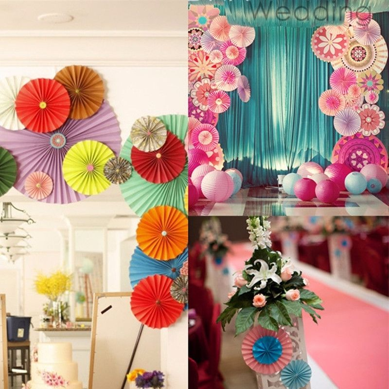 4pcsset vibrant colored tissue paper fans birthday wedding fiesta party decor supplies various sizes - Party Decorations Cheap