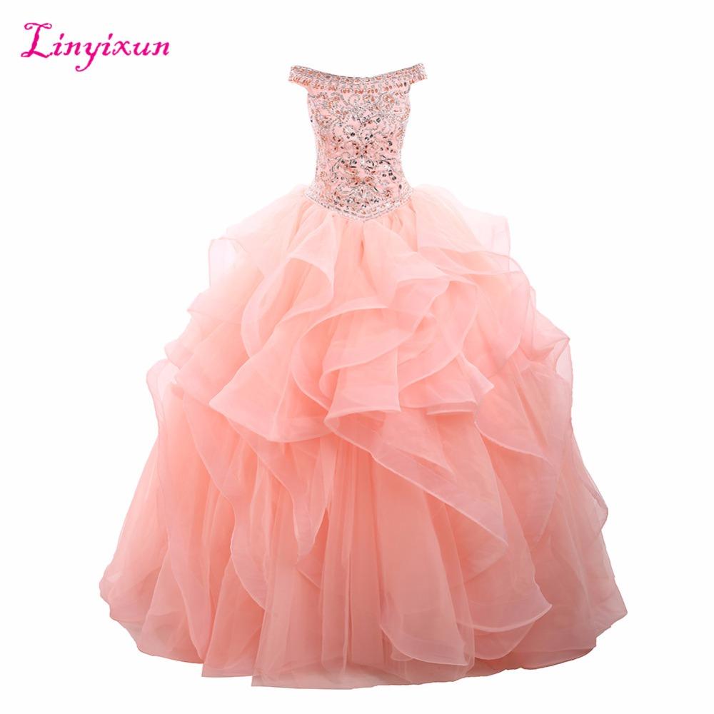 b09e1e7632 Vestido De fiesta De cristal De foto Real De Linyixun Vestidos De ...