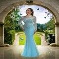 Uzun gece elbisesi 2016 Oriental vestido de noite com pedras de strass vestido de manga comprida Prom vestidos robe de soiree sirene abiye