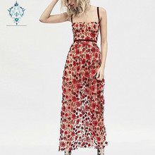 CUERLY Summer 2019 Runway Hollow out Sleeveless Sling long dress embroidery women Bohemian beach holiday slim V-neck sexy
