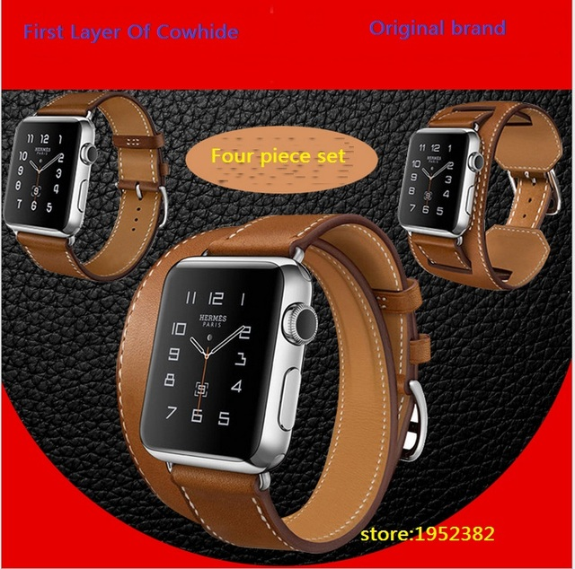 Original ICARER 4 PCS Set Extra Long Genuine Leather Watch Bands Strap For Apple Watch iWatch Double Tour Cuff Bracelet Belts