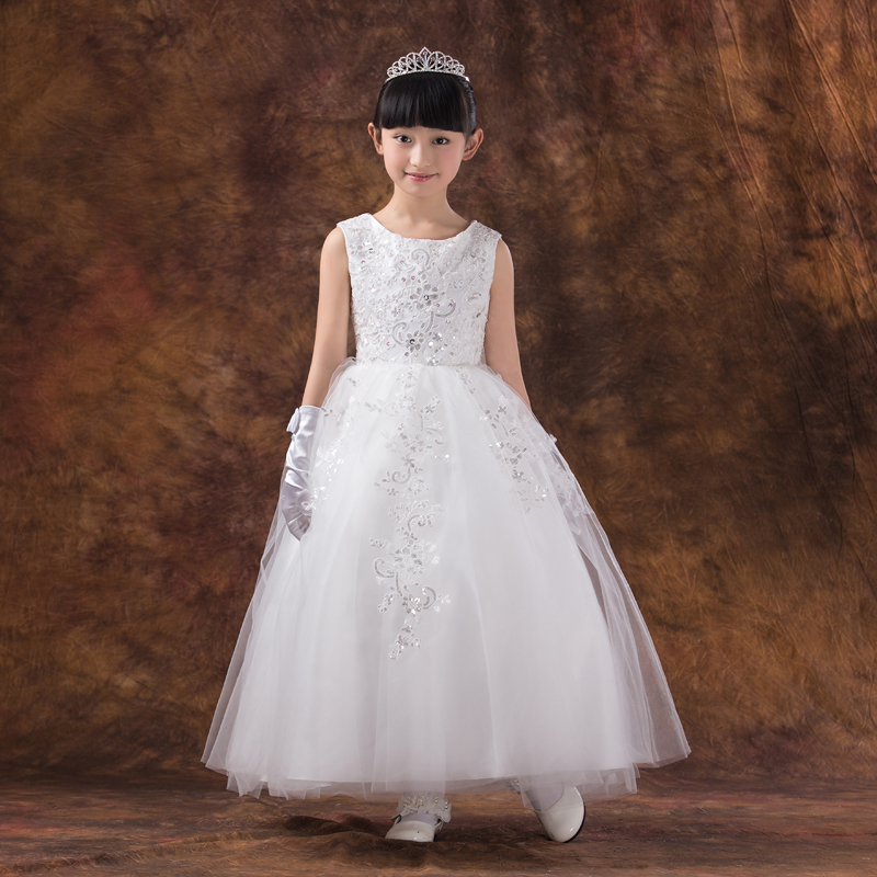 long design ball gown princess dress 2016 new kids girls dress appliques flower girl dresses for wedding birthday costumes
