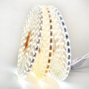 Image 4 - RGB LED şerit ışık kiti uzaktan kumanda ile kısılabilir yumuşak ışık LED bant su geçirmez AC220V SMD 5050 LED şerit esnek şerit