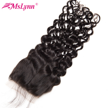 Mslynn Hair Brazilian Water Wave Closure 4×4 Lace Closure With Baby Hair Free Part Non Remy Human Hair Bundles Natural Black