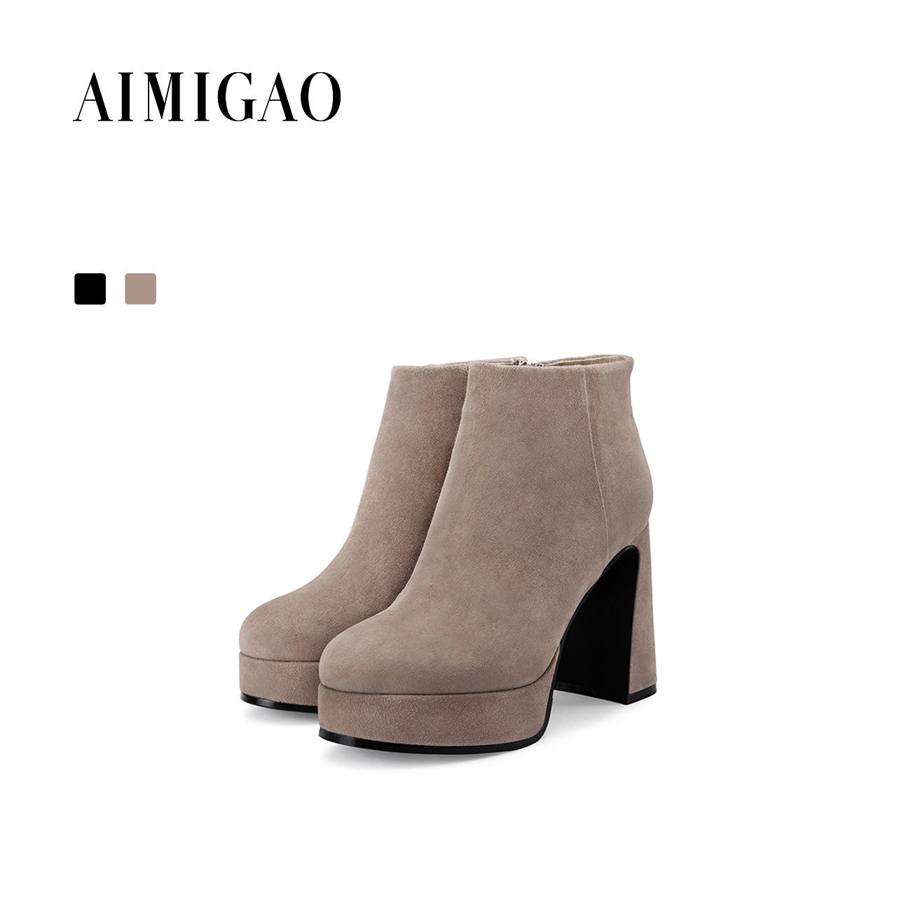 AIMIGAO suede leather Platform Ankle Boots women 2017 autumn winter new round toe thick heel fashion women boots side zipper 2017 autumn new suede short boots thick bottom round toe solid color ankle boots women fashion casual shoes