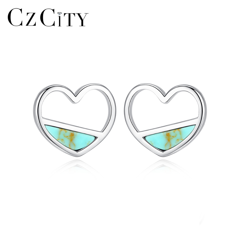 CZCITY Real 925 Sterling Silver Turquoise Heart Stud Earrings For Women Fine Jewelry Brincos Joyeria Fina Para Love Gifts SE0407