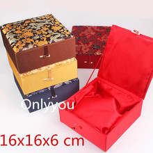 High End Jumbo Gift Box Silk Print Packing Boxes Cotton Filled Keepsake Pearl Necklace Trinket 2pcs/lot mix colo