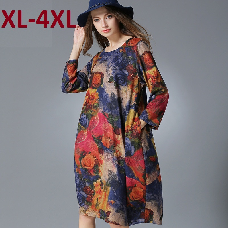 2015 New women knitted dress loose fit spring autumn winter elegant plus size three quarter sleeve casual long bud dress XXXXL plain loose long sleeve plus size dress