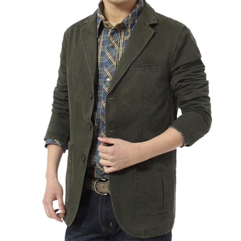 Casual Suit Men Casual Blazer Slim Fit Denim Jacket Parka Army Green Khaki