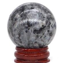 Natural Larvikite Labradorite Ball Mineral Quartz Sphere Hand Massage Crystal Healing Feng Shui Home Decor Accessory 40mm