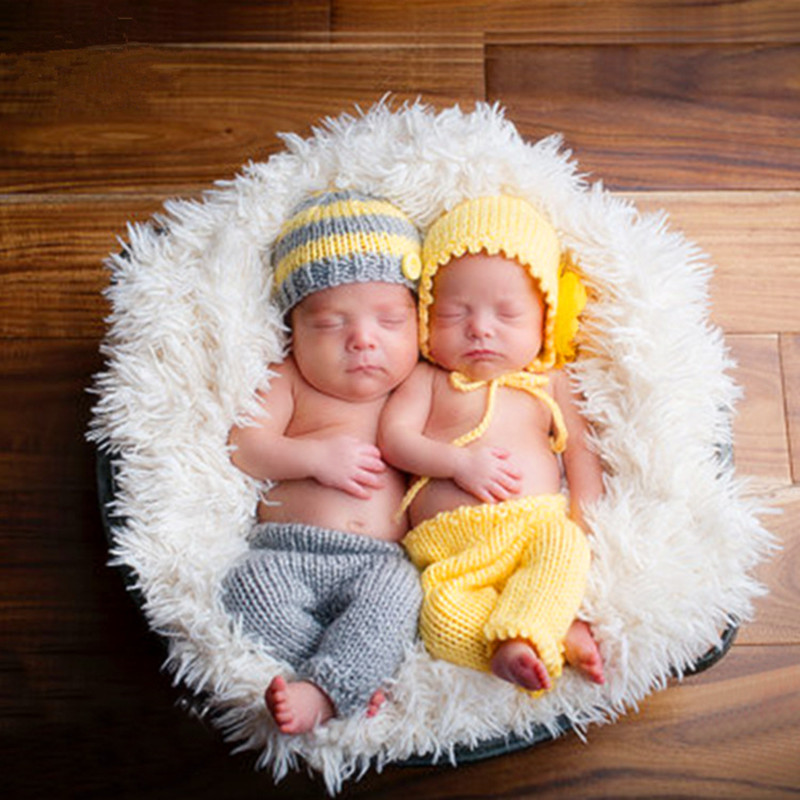 Newborn Photography Props Photography Costume Twins Baby Photo Accessory Knitted Baby Hat+Pants Set Baby Photo Props Accessories