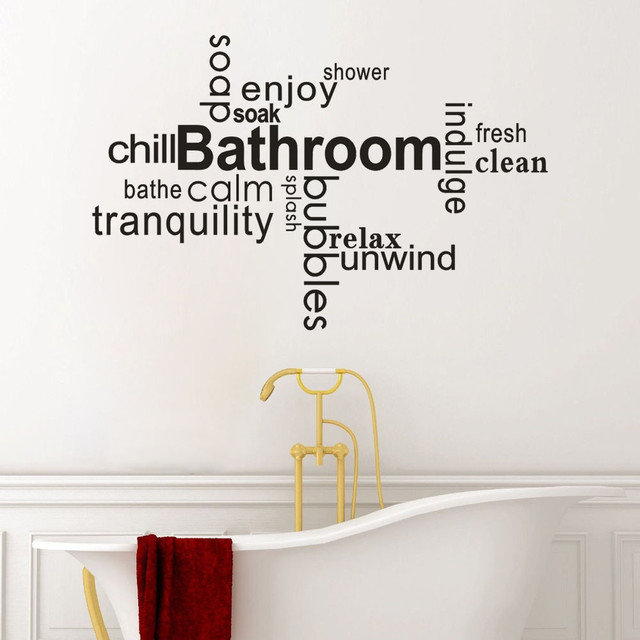 bathroom wall sticker letter removable art vinyl mural home room