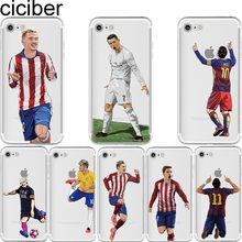 ciciber Soccer Cartoon Cristiano Ronaldo messi Neymar soft silicone phone cases cover for iphone 6 6S 7 8 plus 5S SE X Capinha(China)
