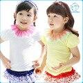 Niñas bebés Summert-shirt Estilo Coreano de Algodón de manga Corta Camiseta de Los Niños de Color Bloque GauzeInfant Tops