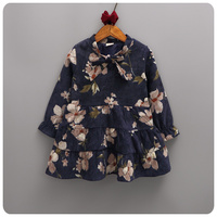 2016 Korean Girl Children S Garment Autumn New Pattern Chinese Ink Flower Chalaza Dress Girl Baby