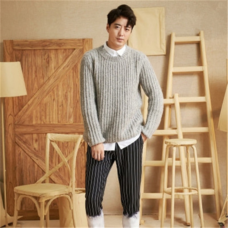 New Arrival 100% Hand Made Pure Wool Oneck Knit Men Casual Solid H-straight Thick Pullover Sweater One&over Size