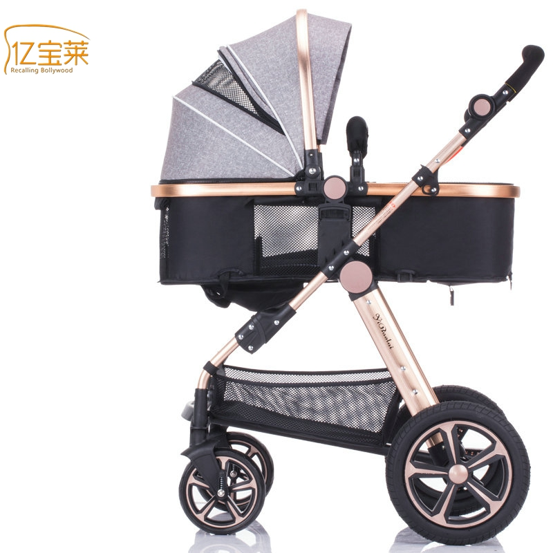 YIBAOLAI  luxury baby stroller High-Landscape Portable baby pram Can sit and lie down baby car Aluminum stroller