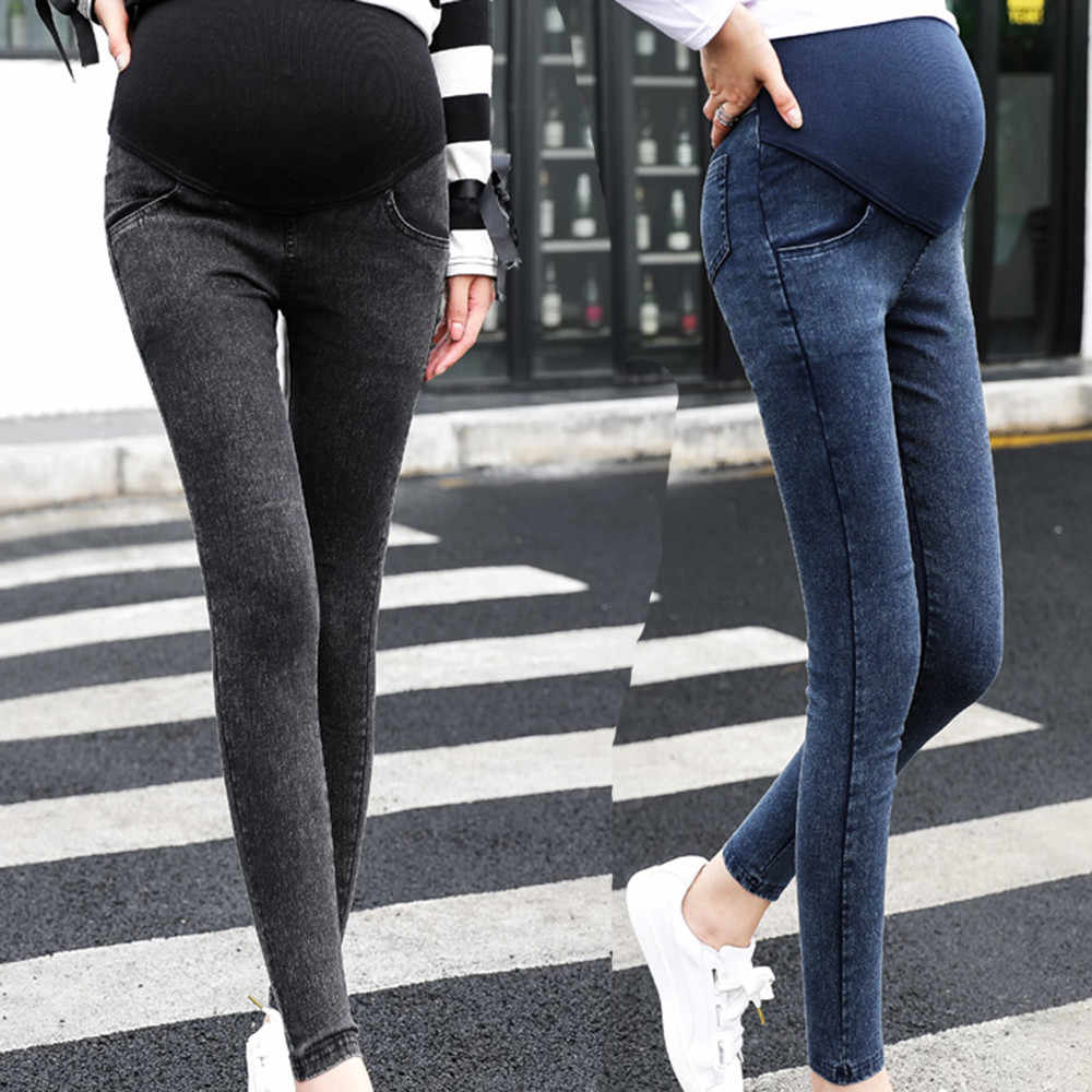 Maternity jeans Maternity Pregnancy Skinny Trousers Jeans Over The Pants Elastic ropa maternal maternity clothes embarazo #06