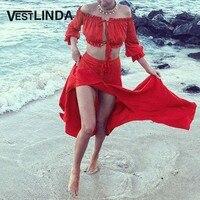 VESTLINDA Red Chiffon Beach Dress Sexy Off Shoulder Crop Top Straight Button Slit Maxi Dress Suit