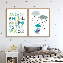 Colorful English Letters Posters And Prints Cartoon Raining Wall Art Canvas Painting Pictures For Children Room FG0129