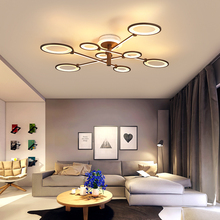Brown Rings Modern led ceiling Chandelier lamps for living room bedroom plafonnier AC85-265V Led light Fixtures