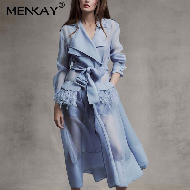 [MENKAY] Vintage Two Piece Sheer Long   Trench   Belt Coat Womens Sheer Casual Windbreaker Female Streetwear 2019 New Clothing