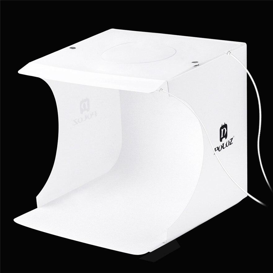 Mini Folding Lightbox Photography 2 Panel LED Light Protable PhotoStudio Softbox Photo Background Kit Light Box For DSLR Camera in Tabletop Shooting from Consumer Electronics