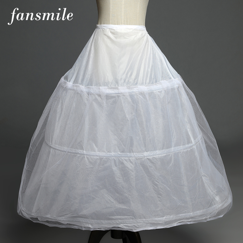 Fansmile 3-Hoops Petticoats Crinoline Underskirt Ball-Gown Wedding-Dress Cheap for In-Stock