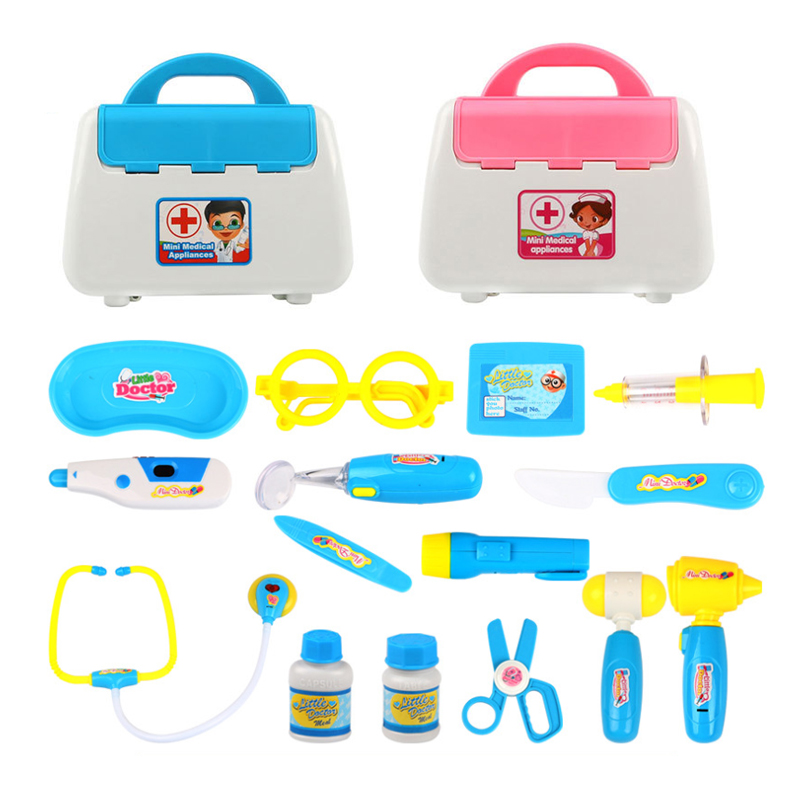 Children's toys 15 sets of sound and light medicine box boys and girls toy doctors nurse injections medical equipment 2017