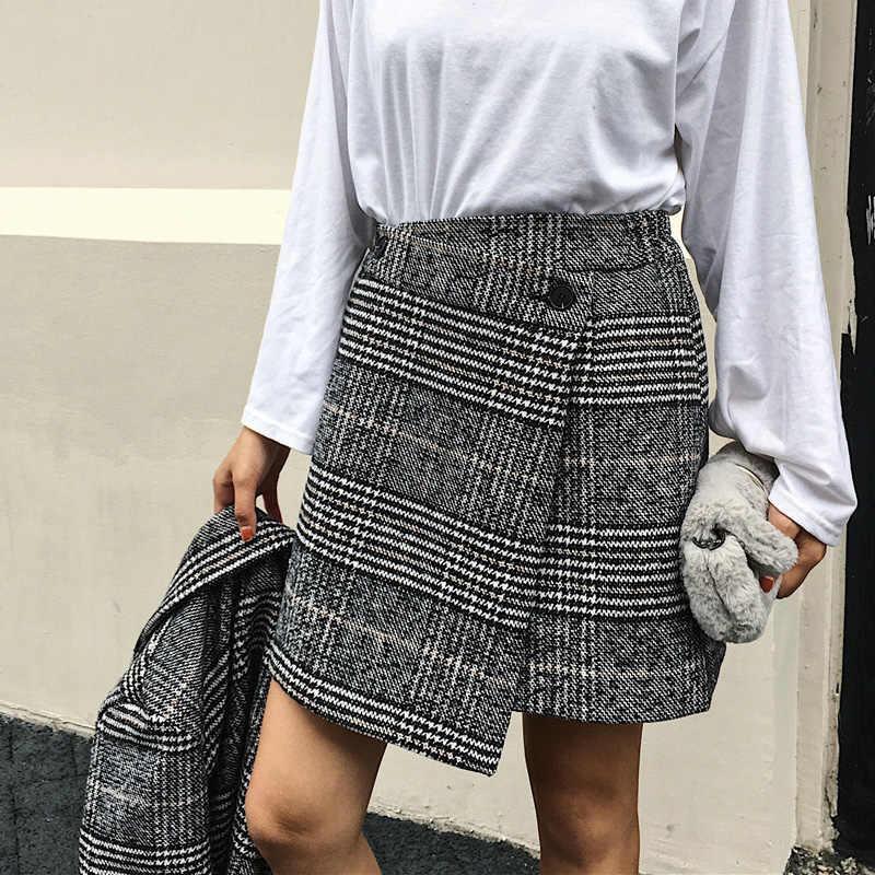 e6b4920ff5 Autumn 2017 skirts womens casual lattice high waist skirt asymmetrical  woolen skirt gray womens clothing