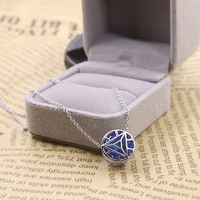 Film Jewelry Iron Man Necklace Pendant Arc Reactor Round 925 Silver Pendant Necklaces Jewelry for Men Women Cosplay