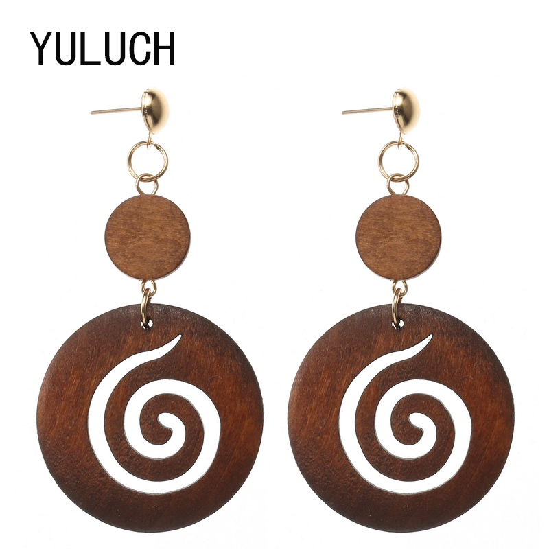 YULUCH Wood Earrings for Woman 2018 New Design Personality Hollow Latest Good Quality African Wood Earrings Jewelry 1 Pair Eard