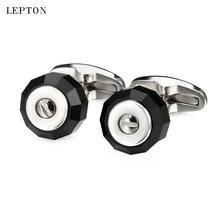 Запонки lepton из черного стекла для мужчин запонки высококачественной