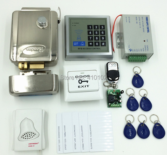 Remote Control 125KHz RFID Keypad Access Control System Security Kit + Electric Door  Lock +Door Bell