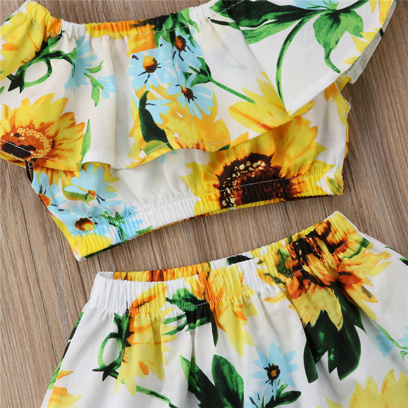 156eb550a0a6 Toddler Kids Baby Girls Sunflower Clothes Set Summer Floral Off Shoulder  Crop Tops Skirt Casual Outfits Girl Clothing Cute 2 7T-in Clothing Sets  from Mother ...