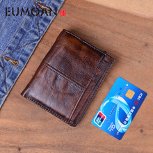 EUMOAN Mens wallet Multi-card top layer cowhide leather retro casual short coin purse Clutch bag Leather mens