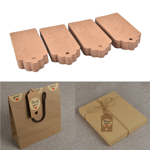 4*9cm Kraft Paper Tags Rectangle Lace Scalloped Head Label Luggage Wedding Birthday Party Gift Note DIY Blank Price Hang Tag