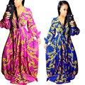 Новый 2017 марка высокое качество полный рукавом Dashiki печати традиционные африканские платья v-образным вырезом maxi dress sexy women long dress