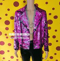 Hot New Hip Hop Rock Male Singer Costume Men Colorful Pink Motorcycle Jackets Men Personality Nightclub Fashion Sequins Jacket